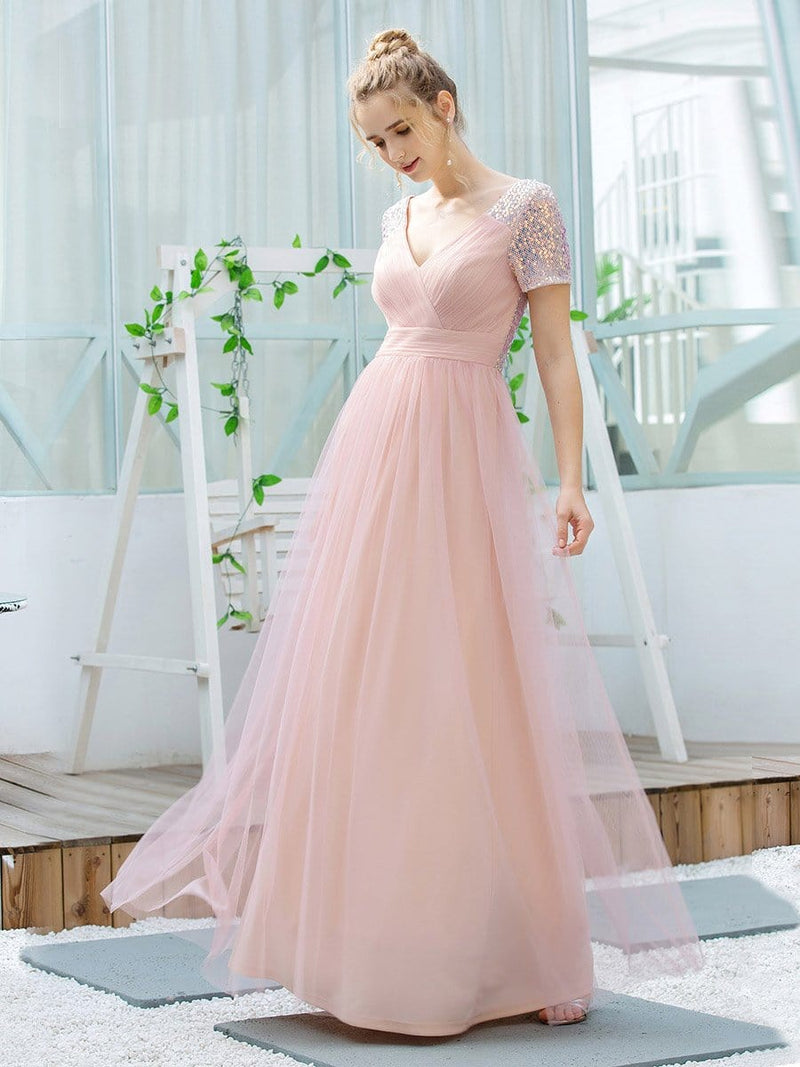 Sweet V Neck A-Line Tulle Bridesmaid Dress With Sequin-Pink 3