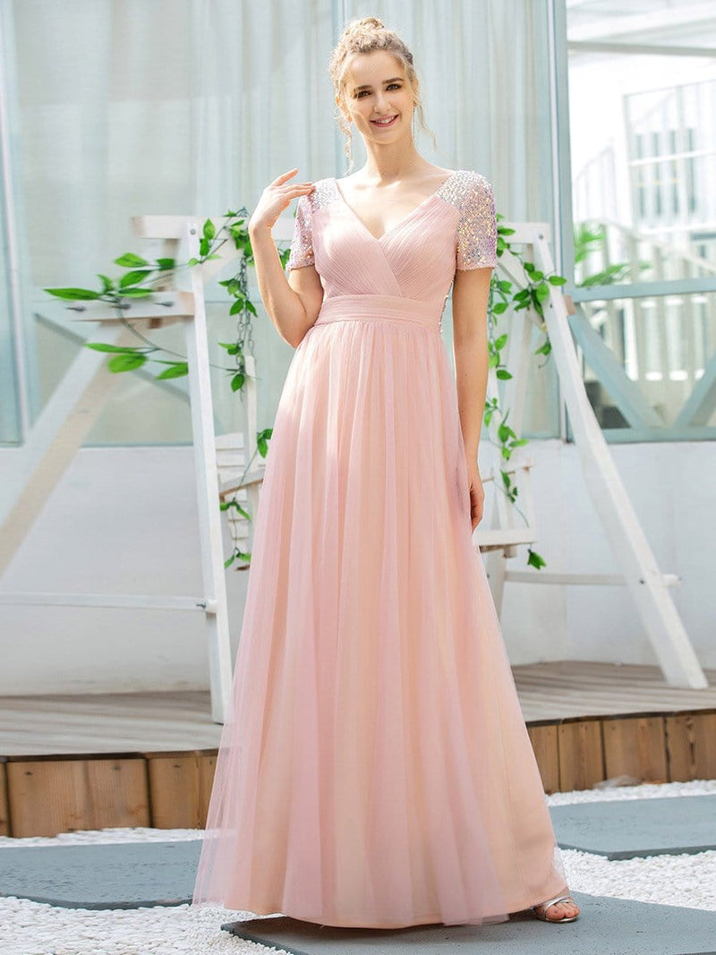 Sweet V Neck A-Line Tulle Bridesmaid Dress With Sequin-Pink 4