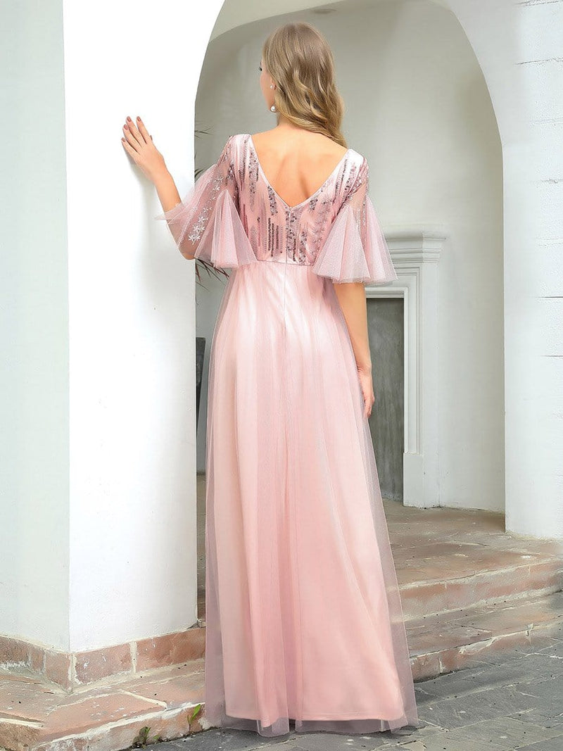 Cute V-Neck Short Ruffled Sleeves Bridesmaid Dress With Sequin-Pink 2