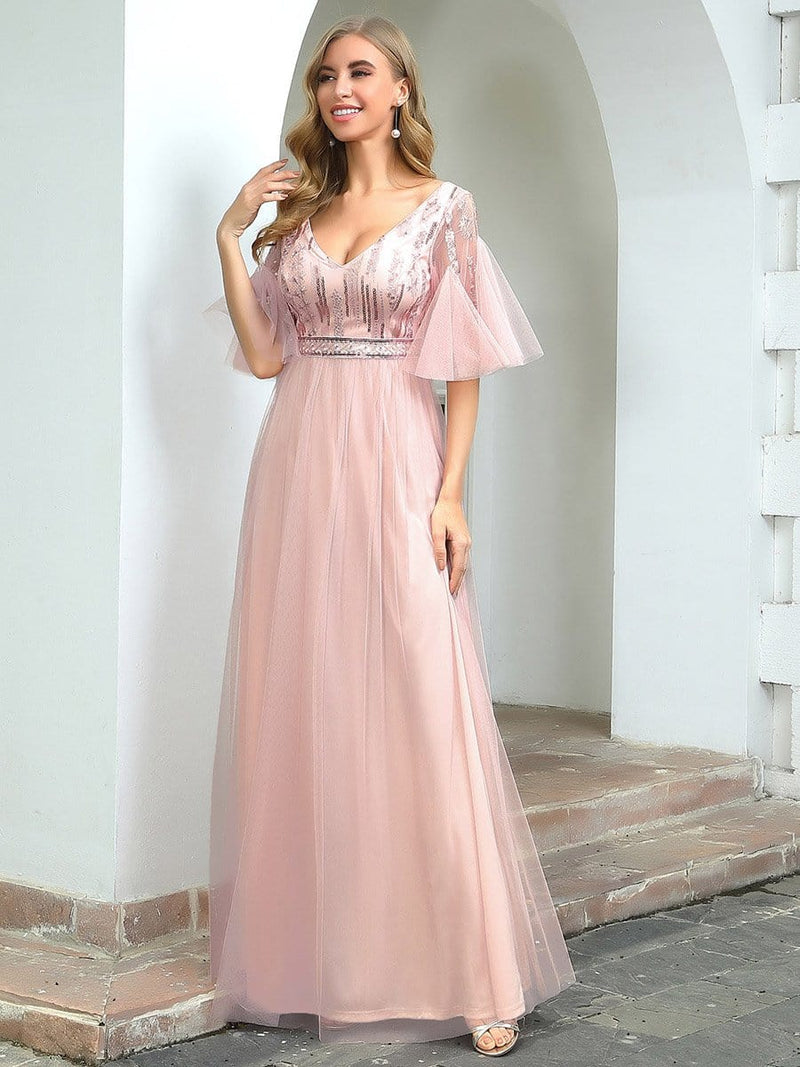 Cute V-Neck Short Ruffled Sleeves Bridesmaid Dress With Sequin-Pink 3