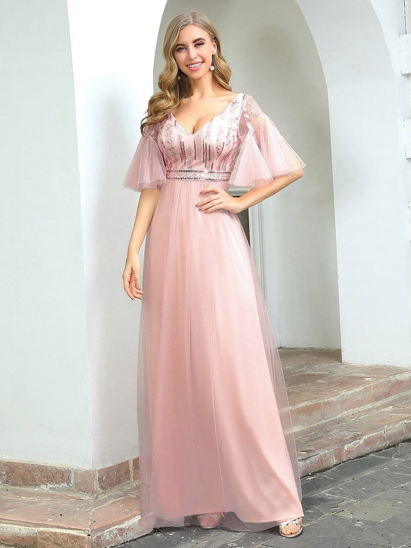 Cute V-Neck Short Ruffled Sleeves Bridesmaid Dress With Sequin-Pink 1