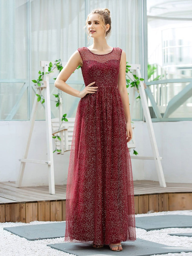 Cute Glittery Illusion Neck A-Line Evening Dress For Women-Burgundy 1