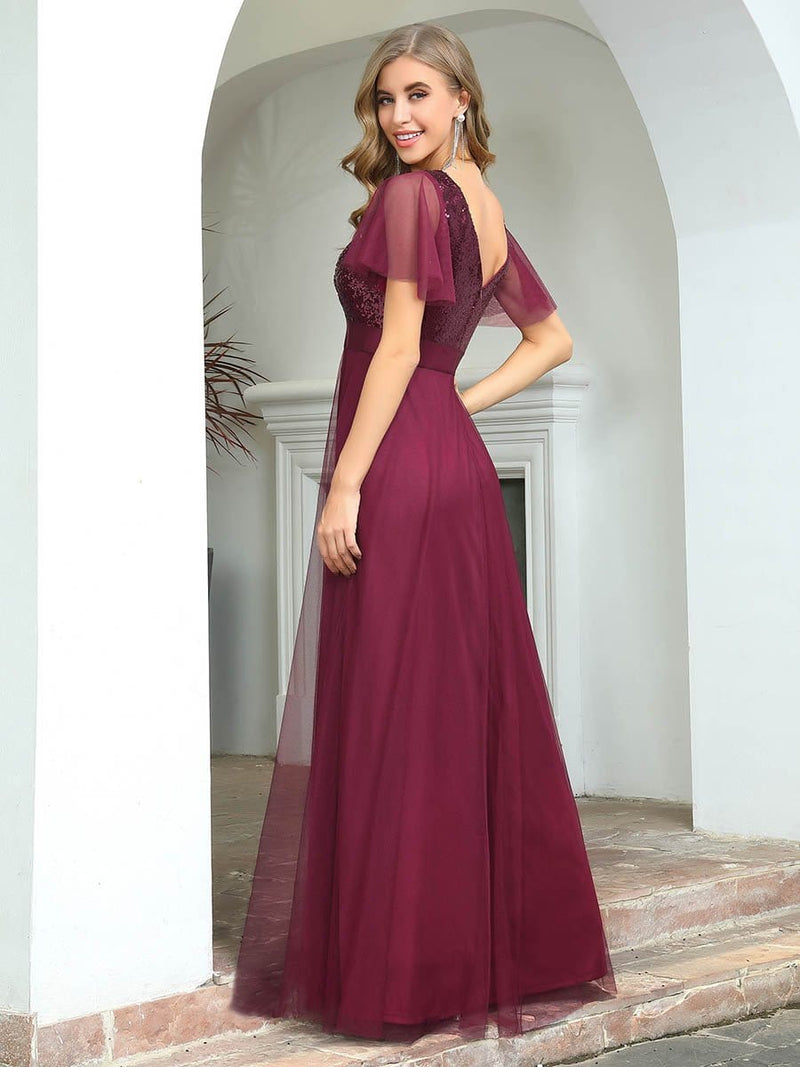 Fashion A-Line Floor Length Tulle Evening Dress With Sequin-Burgundy 2