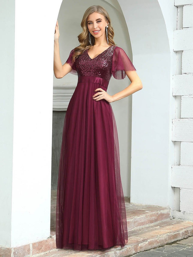 Fashion A-Line Floor Length Tulle Evening Dress With Sequin-Burgundy 3