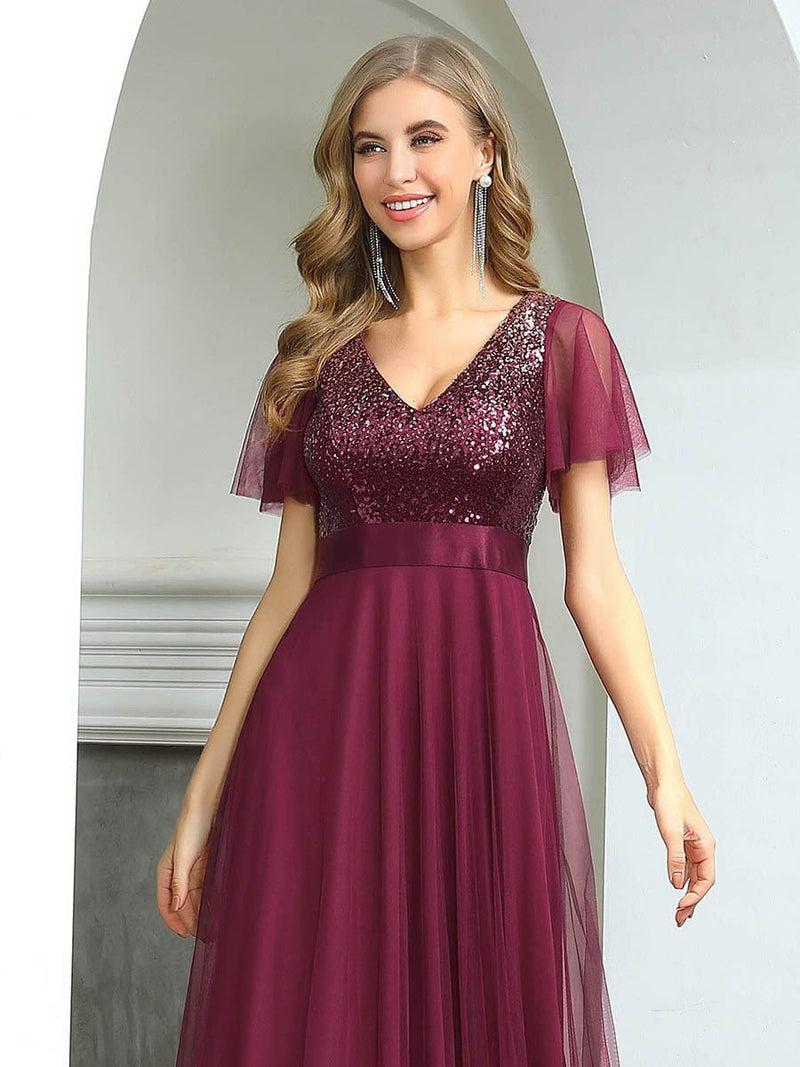 Fashion A-Line Floor Length Tulle Evening Dress With Sequin-Burgundy 5