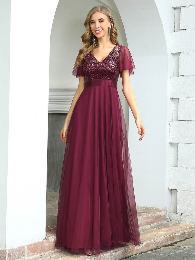 Fashion A-Line Floor Length Tulle Evening Dress With Sequin-Burgundy 1