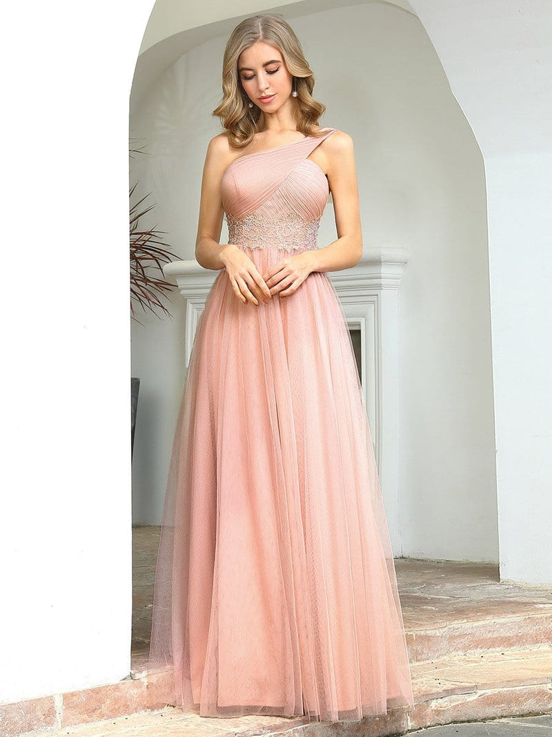 Cute One Shoulder Ruched Bust Bridesmaid Dresses With Appliques-Pink 3