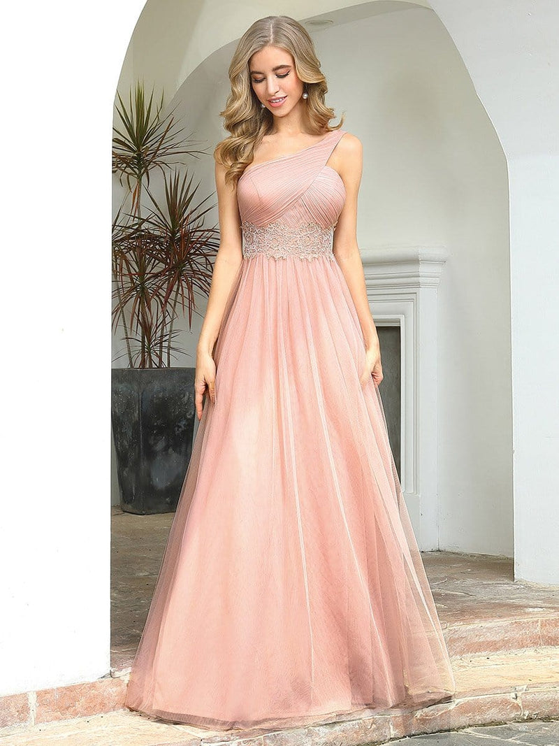 Cute One Shoulder Ruched Bust Bridesmaid Dresses With Appliques-Pink 4