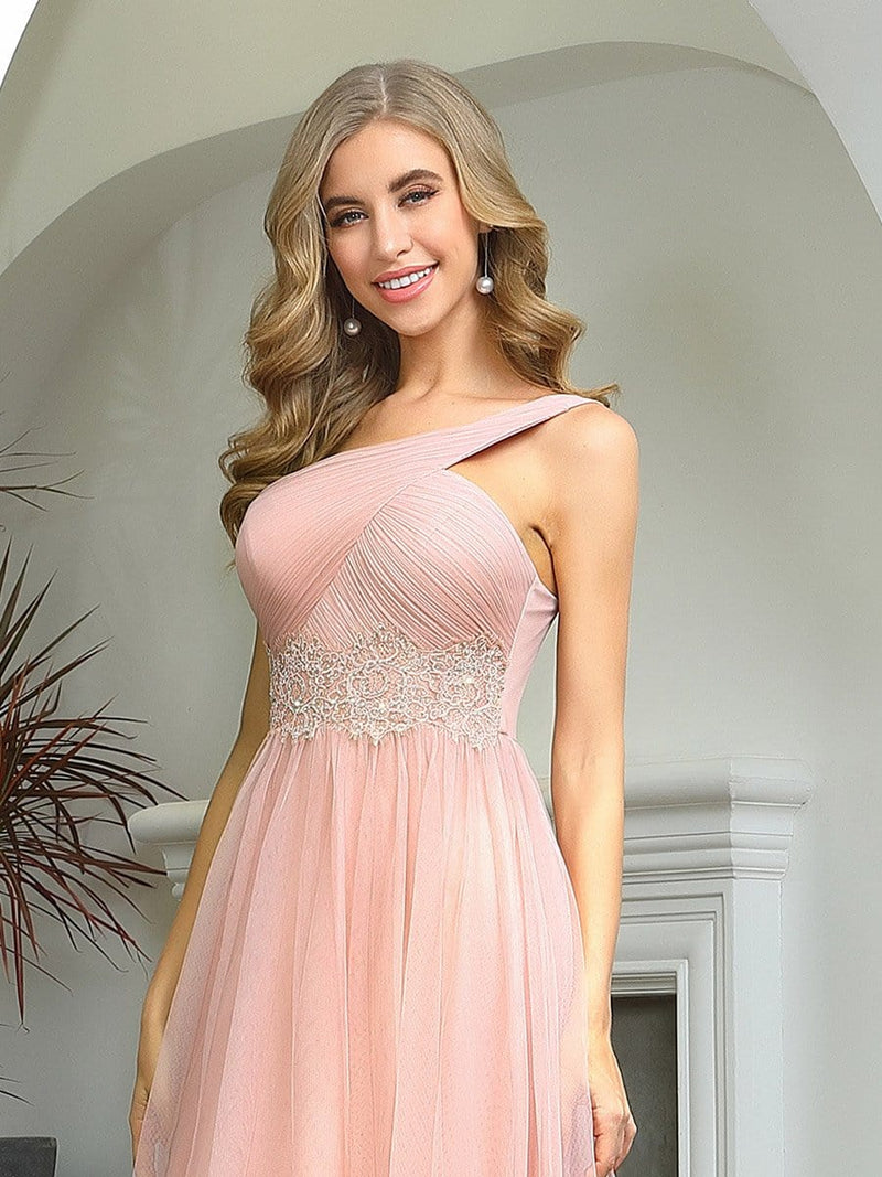 Cute One Shoulder Ruched Bust Bridesmaid Dresses With Appliques-Pink 5