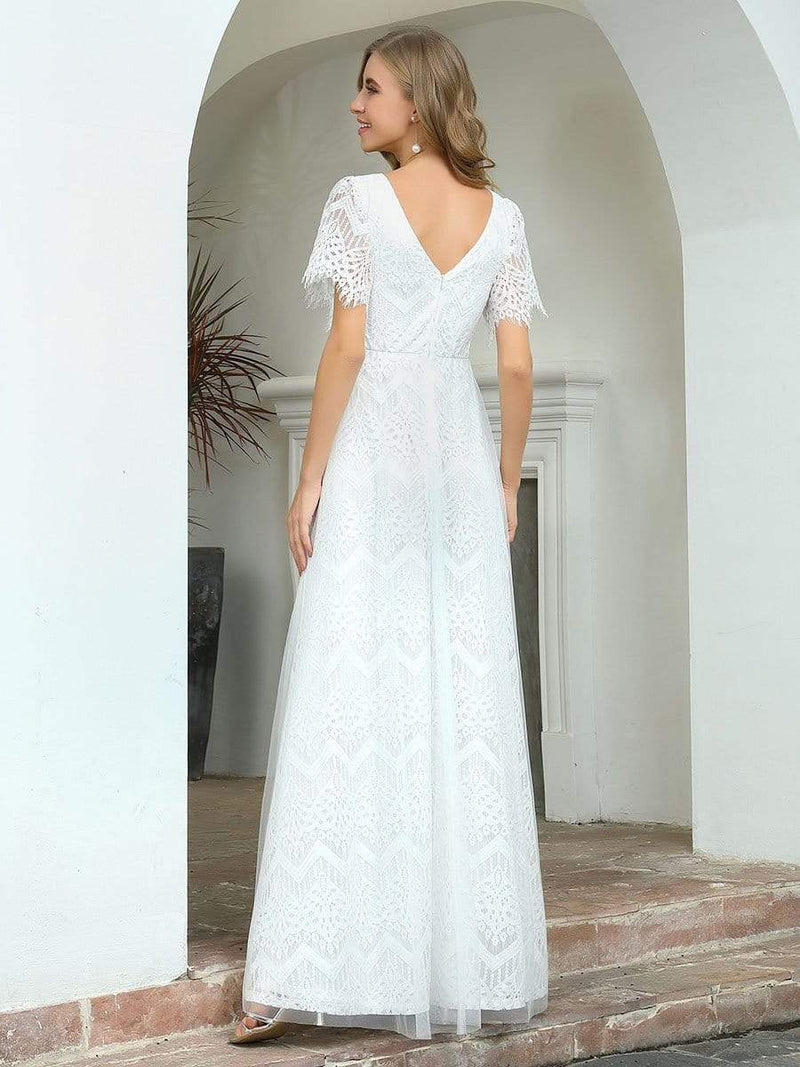 Elegant Simple Deep V Neck A-Line Lace & Tulle Wedding Dress-White 14