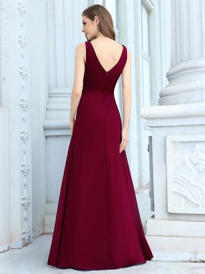 Women'S Floor Length A-Line Evening Dress With Appliqued Bust-Burgundy 2