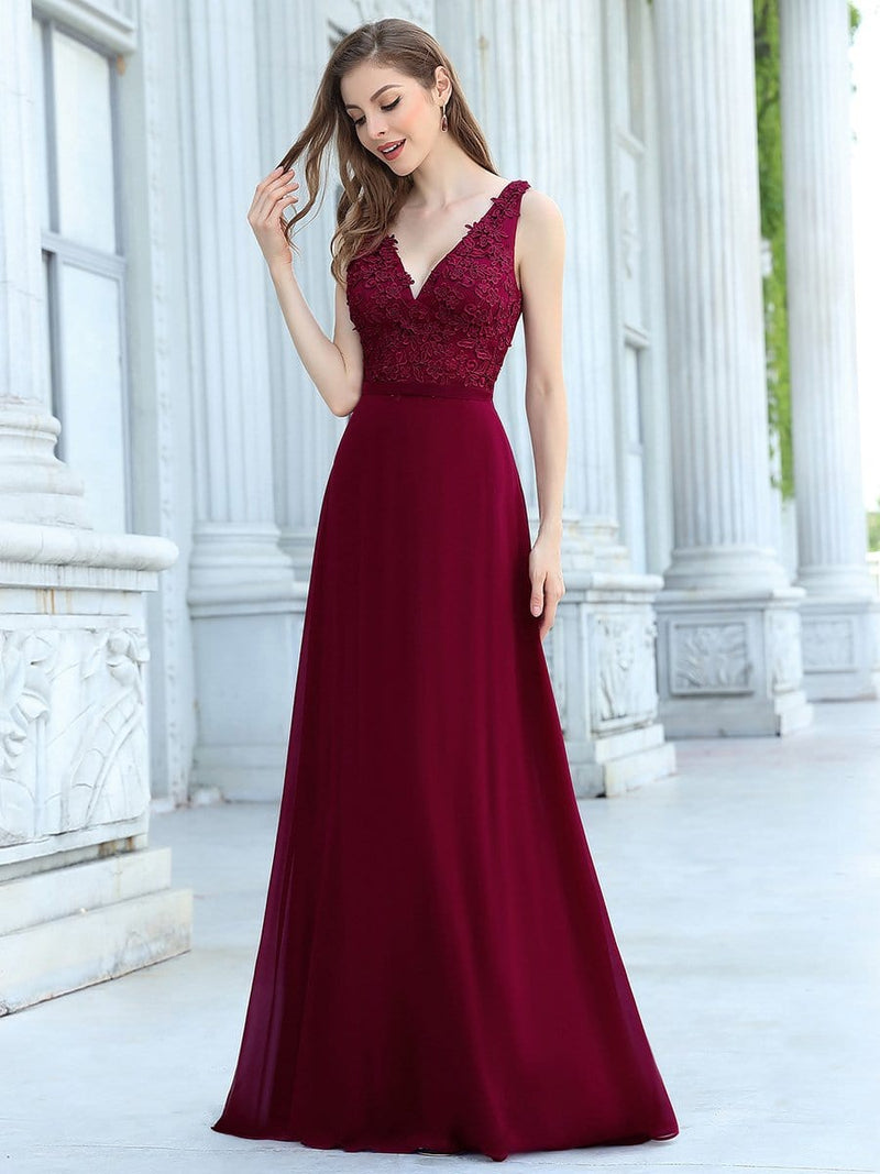 Women'S Floor Length A-Line Evening Dress With Appliqued Bust-Burgundy 3