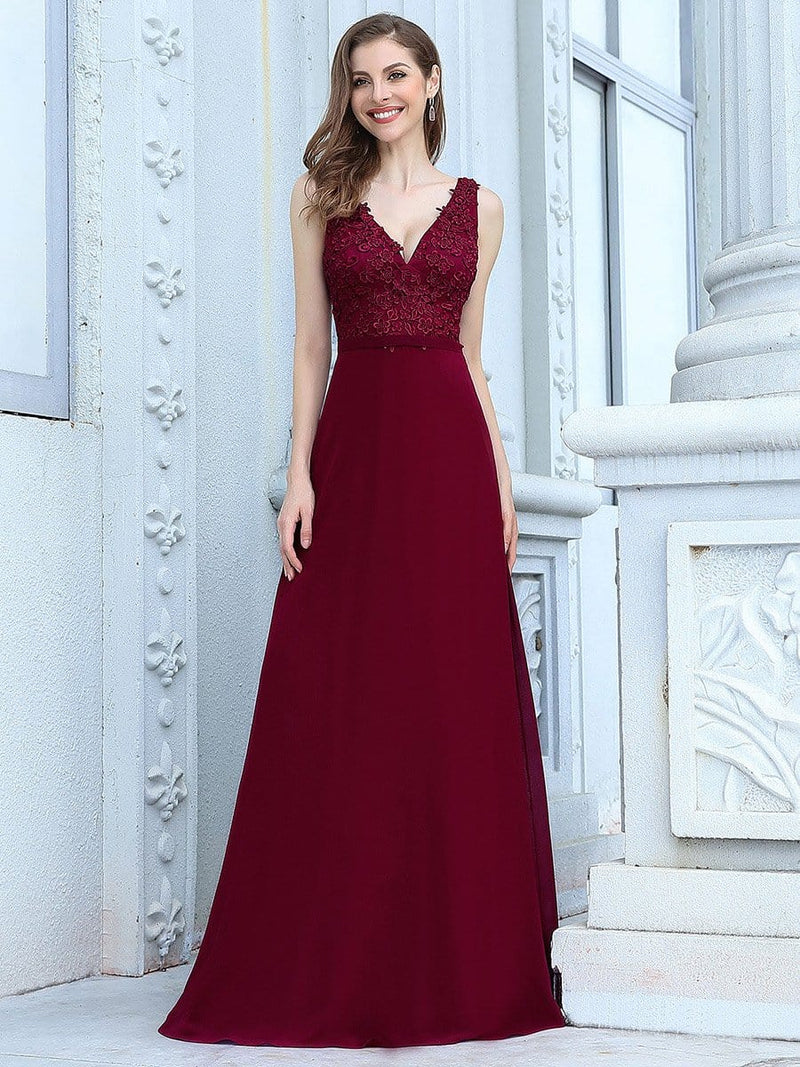 Women'S Floor Length A-Line Evening Dress With Appliqued Bust-Burgundy 4