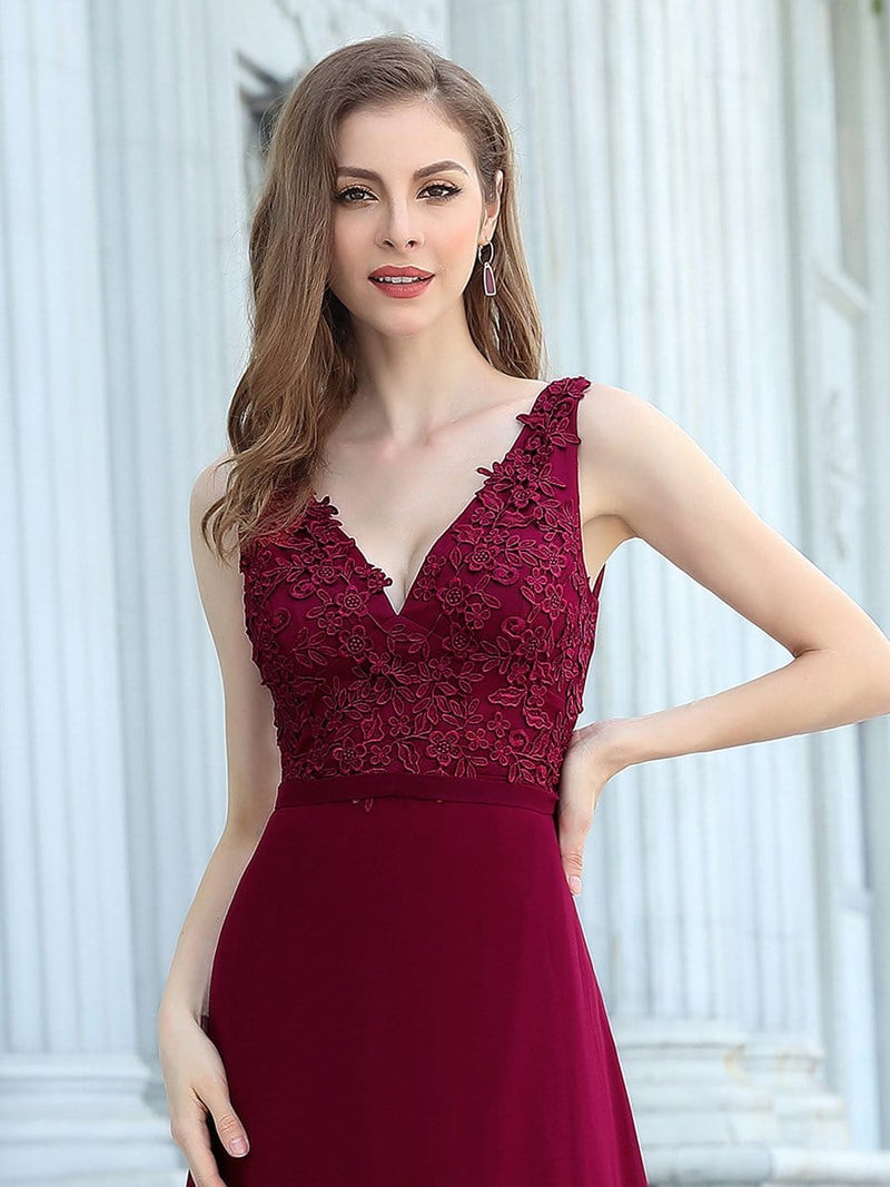 Women'S Floor Length A-Line Evening Dress With Appliqued Bust-Burgundy 5