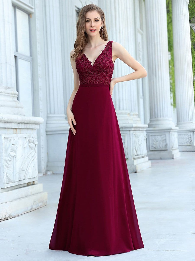 Women'S Floor Length A-Line Evening Dress With Appliqued Bust-Burgundy 1
