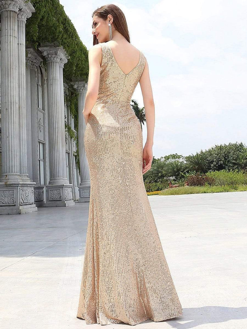 Sexy Floor Length Sleeves V-Neck Mermaid Evening Dresses-Rose Gold 2
