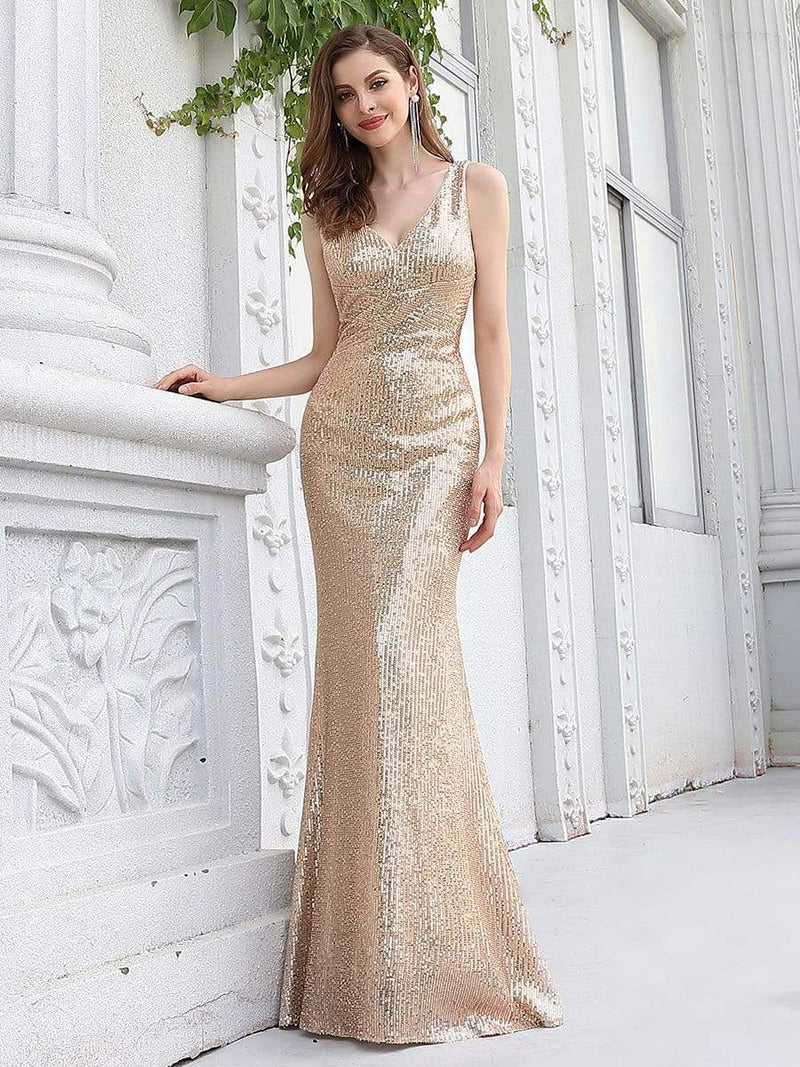 Sexy Floor Length Sleeves V-Neck Mermaid Evening Dresses-Rose Gold 3