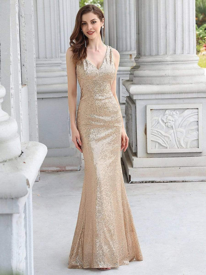 Sexy Floor Length Sleeves V-Neck Mermaid Evening Dresses-Rose Gold 1