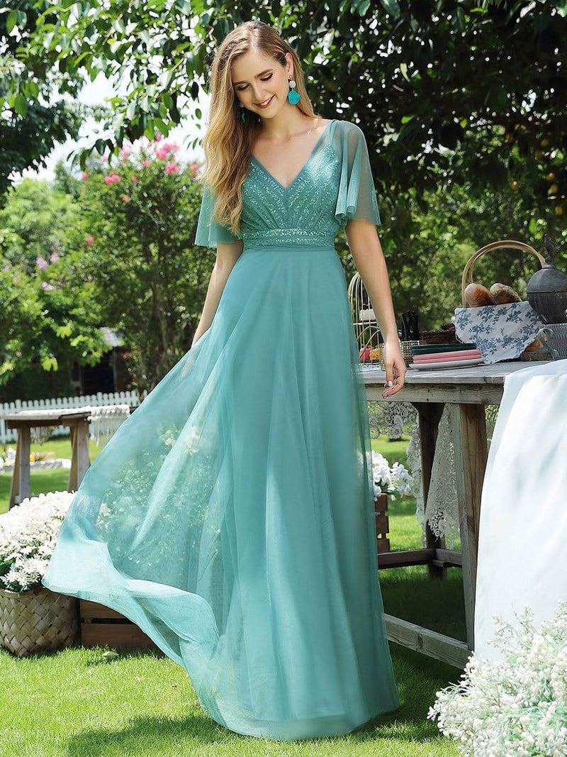 Sweet Deep V-Neck Short Ruffles Sleeves A-Line Tulle Evening Dress With Paillette-Dusty Blue 1