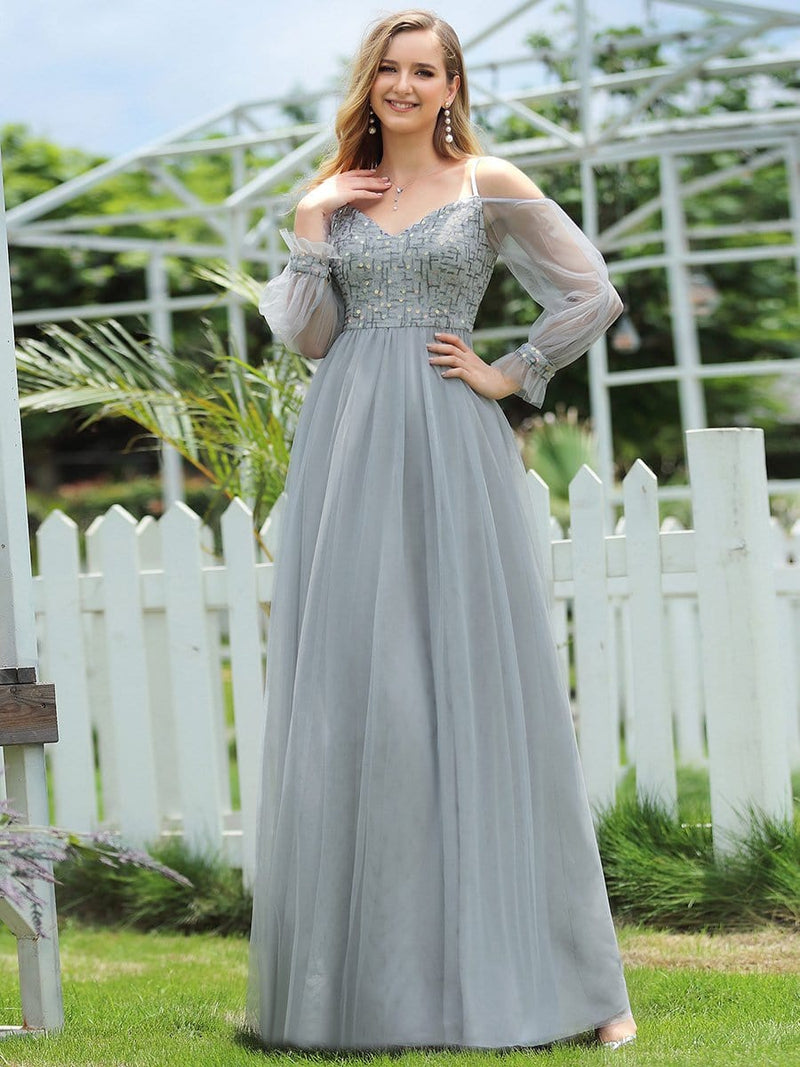Flattering Tulle A-Line Evening Dresses With See-Through Cold Shoulders-Grey 4