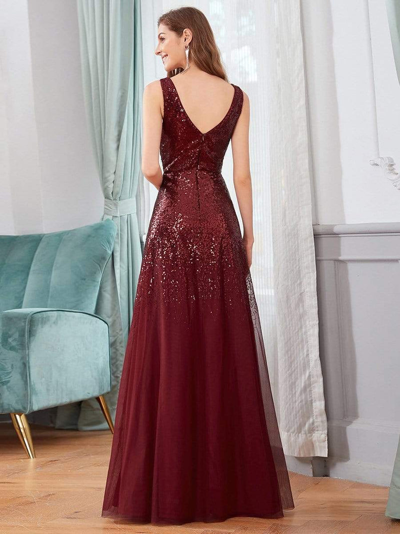 Sexy A-Line Double V-Neck Tulle & Sequin Evening Dresses-Burgundy 2