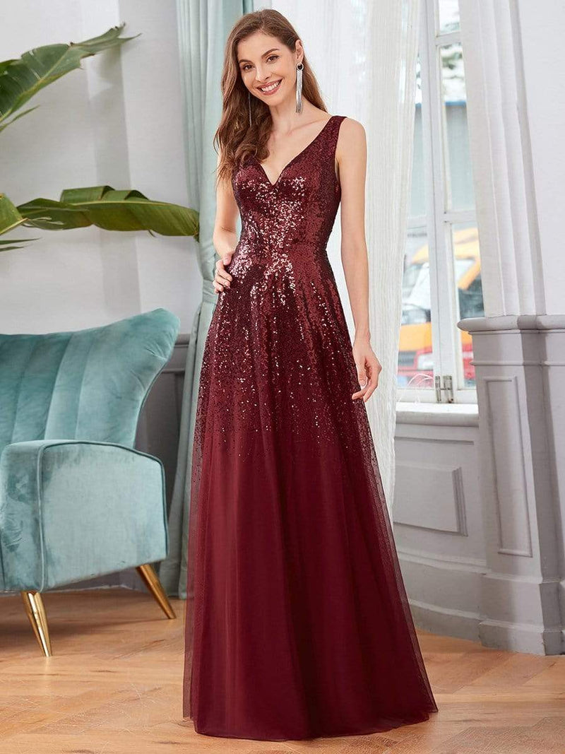 Sexy A-Line Double V-Neck Tulle & Sequin Evening Dresses-Burgundy 3