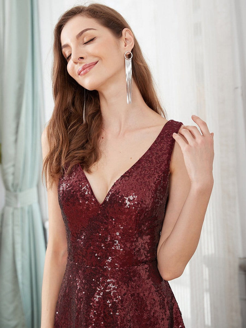 Sexy A-Line Double V-Neck Tulle & Sequin Evening Dresses-Burgundy 5