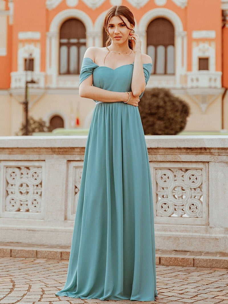 Pretty Floor Length Bridesmaid Dress With Spaghetti Straps-Dusty Blue 2