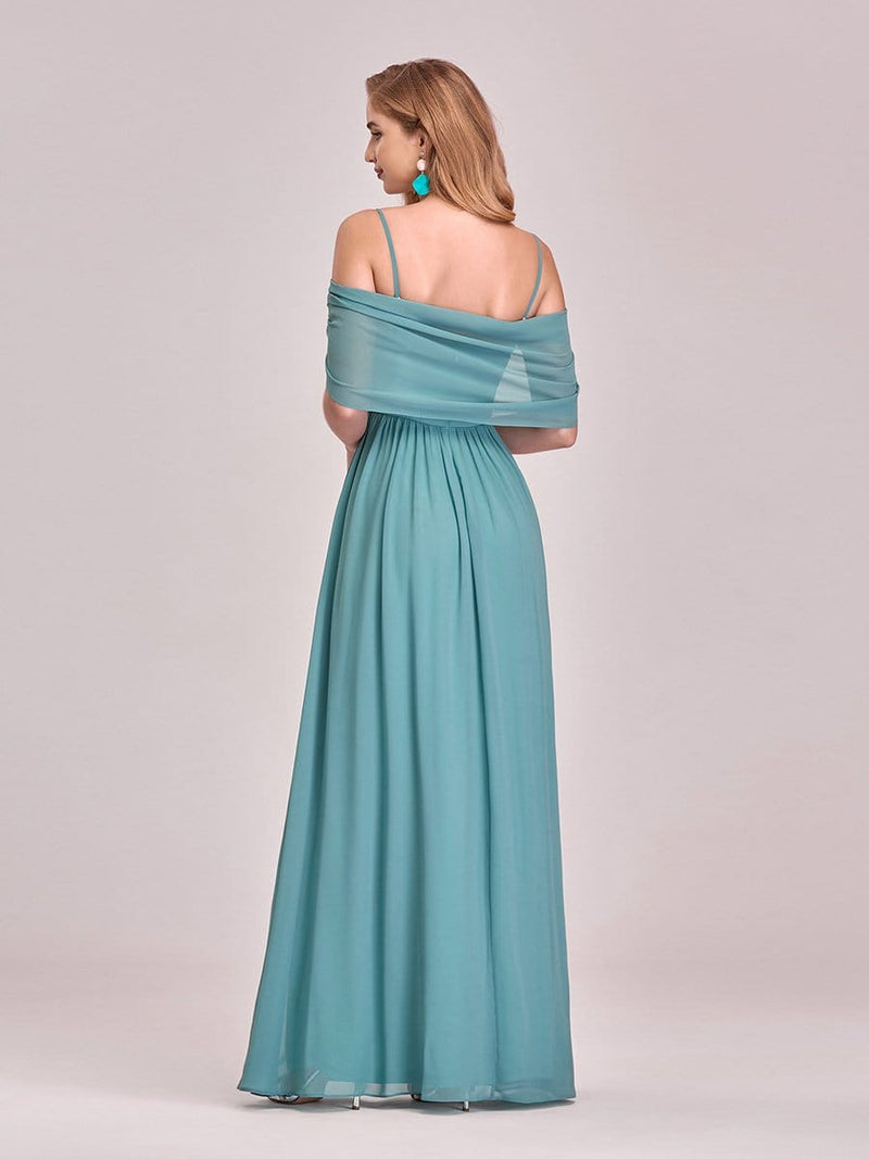 Pretty Floor Length Bridesmaid Dress With Spaghetti Straps-Dusty Blue 6