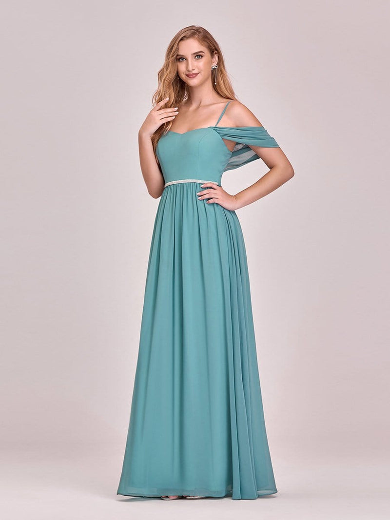 Pretty Floor Length Bridesmaid Dress With Spaghetti Straps-Dusty Blue 5