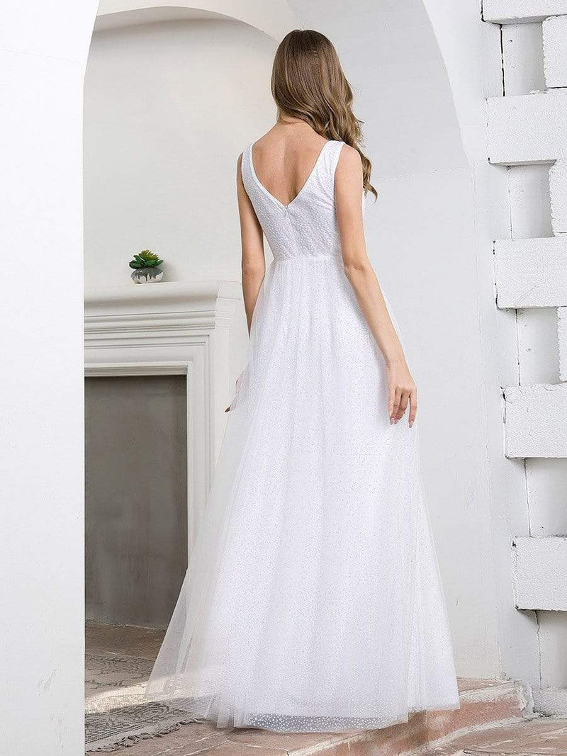 Elegant A-Line Sleeveless Tulle Wedding Dresses For Women-Cream 2