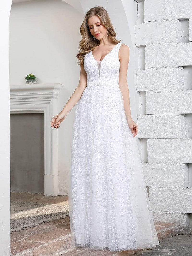 Elegant A-Line Sleeveless Tulle Wedding Dresses For Women-Cream 4