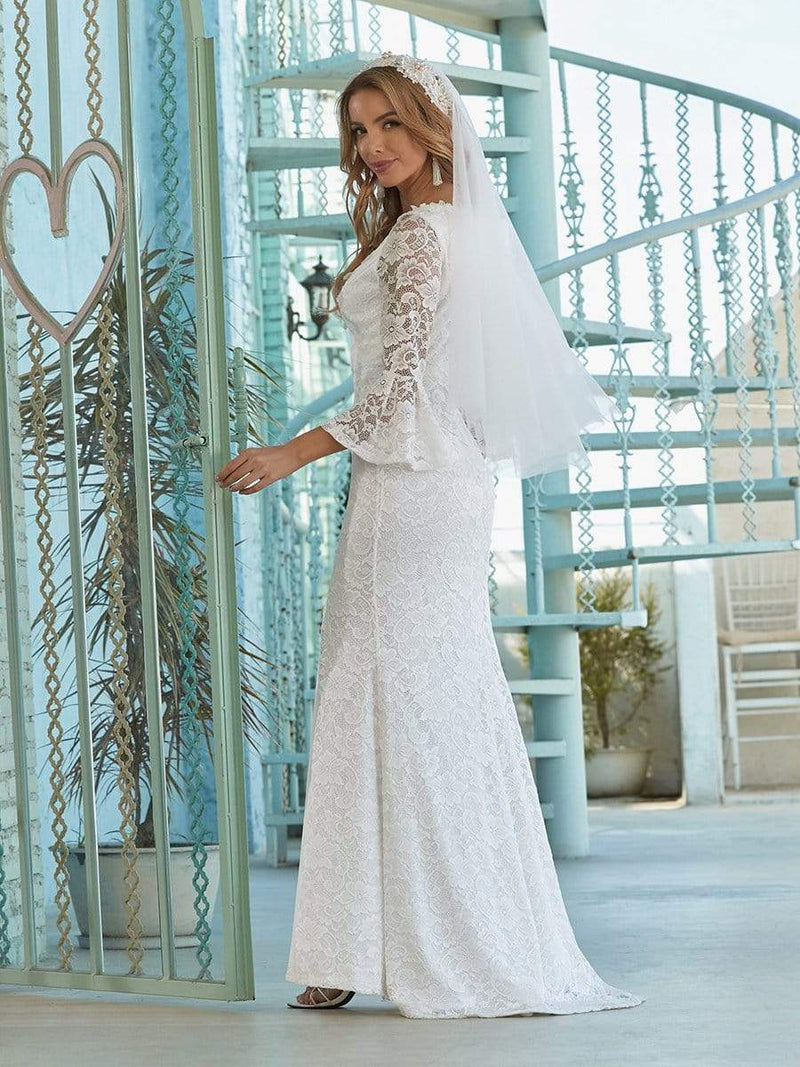 Sexy Maxi Mermaid Lace Wedding Dress With High Split-Cream 3