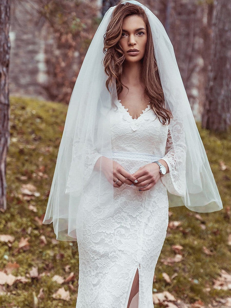 Sexy Maxi Mermaid Lace Wedding Dress With High Split-Cream 9