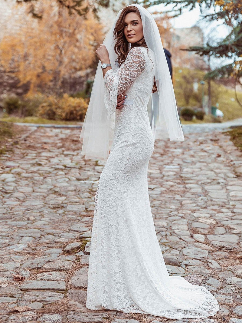 Sexy Maxi Mermaid Lace Wedding Dress With High Split-Cream 8
