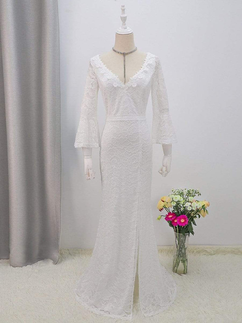Sexy Maxi Mermaid Lace Wedding Dress With High Split-Cream 5