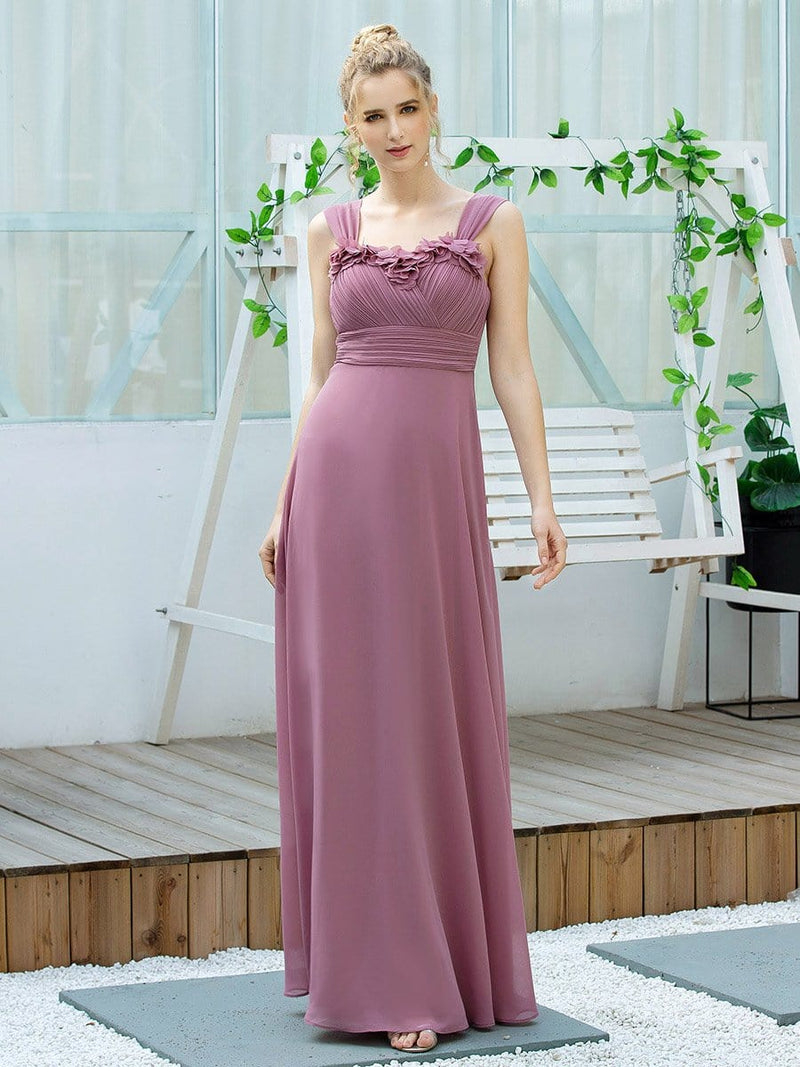 Simple A-Line Long Ruched Chiffon Bridesmaid Dresses-Purple Orchid 1