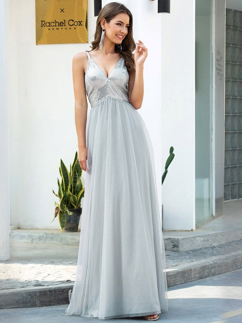 V-Neck Spaghetti Straps Sequin & Tulle Bridesmaid Dress-Grey 3