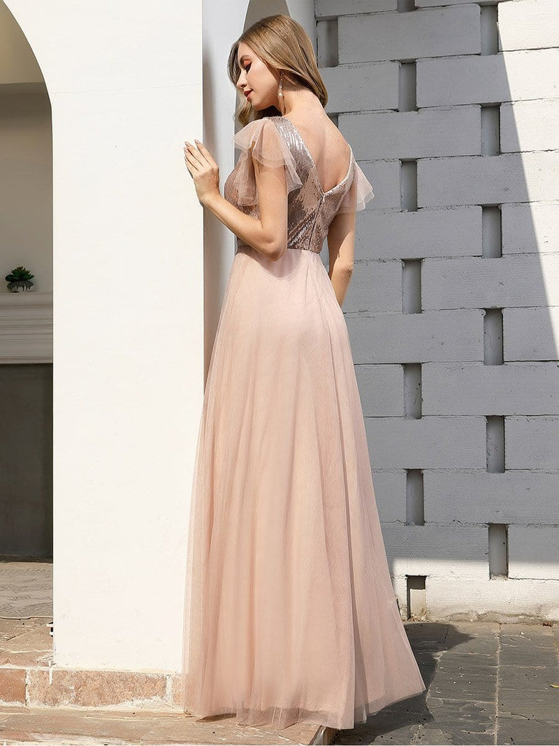 Deep Double V Neck Flowy Tulle Bridesmaid Dresses-Blush 2