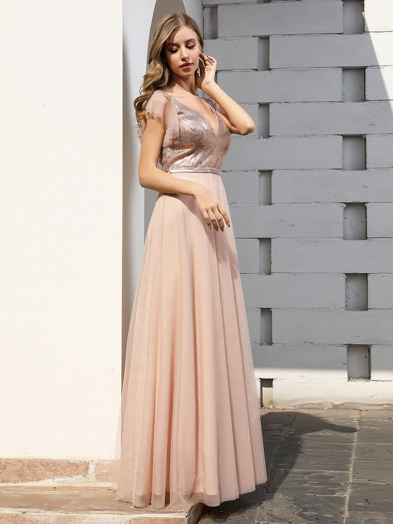 Deep Double V Neck Flowy Tulle Bridesmaid Dresses-Blush 3