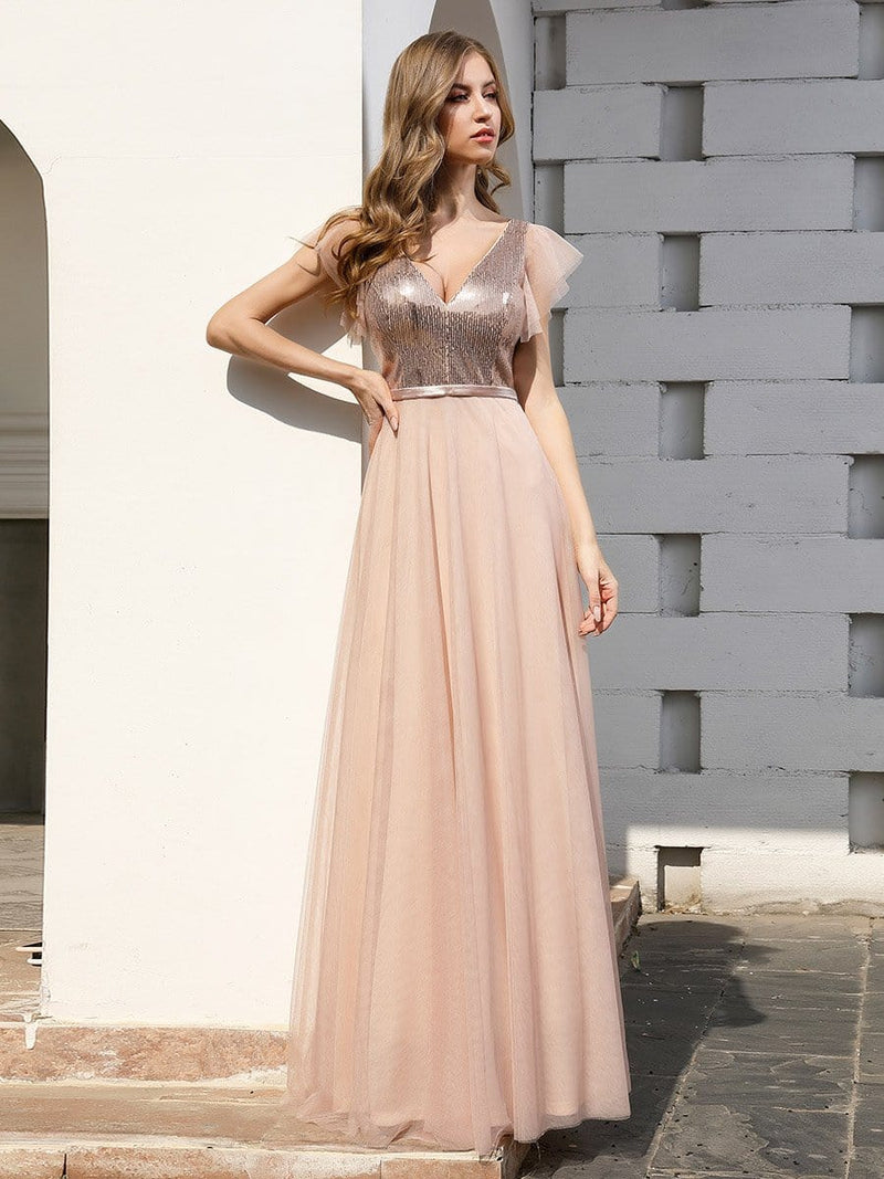 Deep Double V Neck Flowy Tulle Bridesmaid Dresses-Blush 4