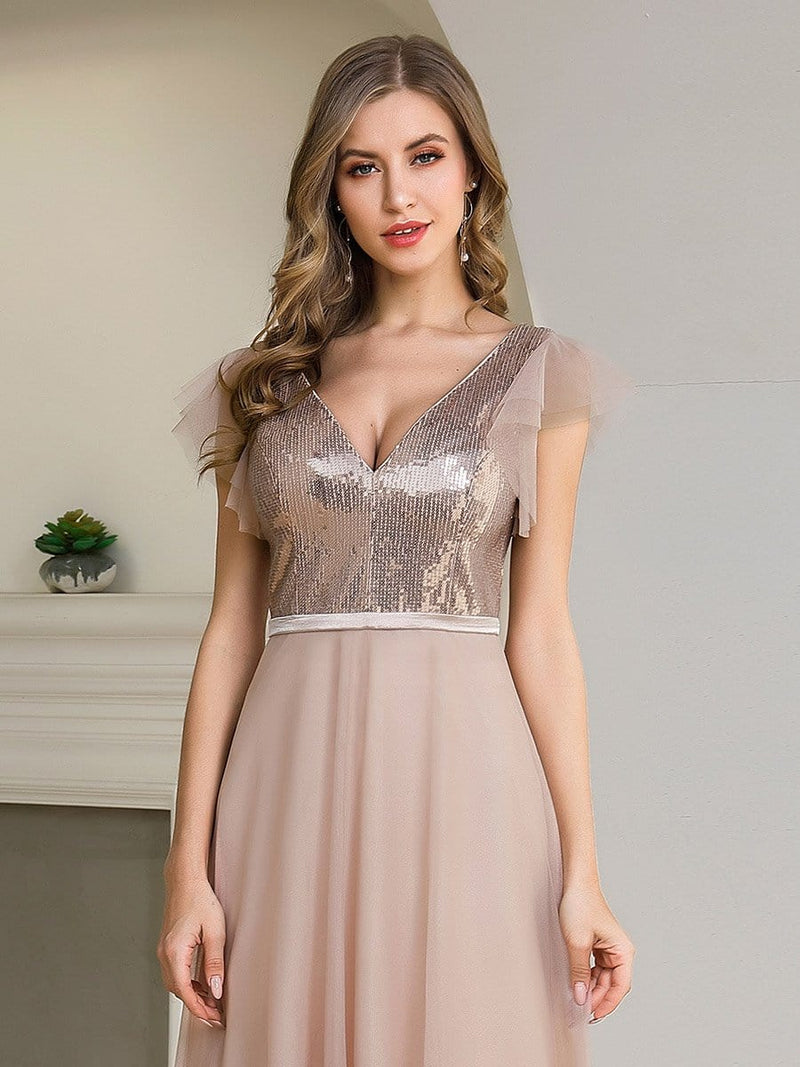Deep Double V Neck Flowy Tulle Bridesmaid Dresses-Blush 5