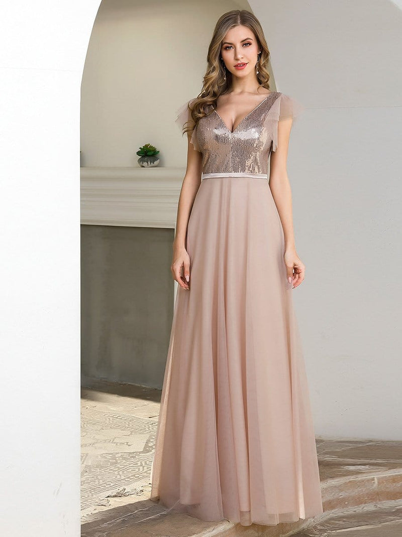 Deep Double V Neck Flowy Tulle Bridesmaid Dresses-Blush 1