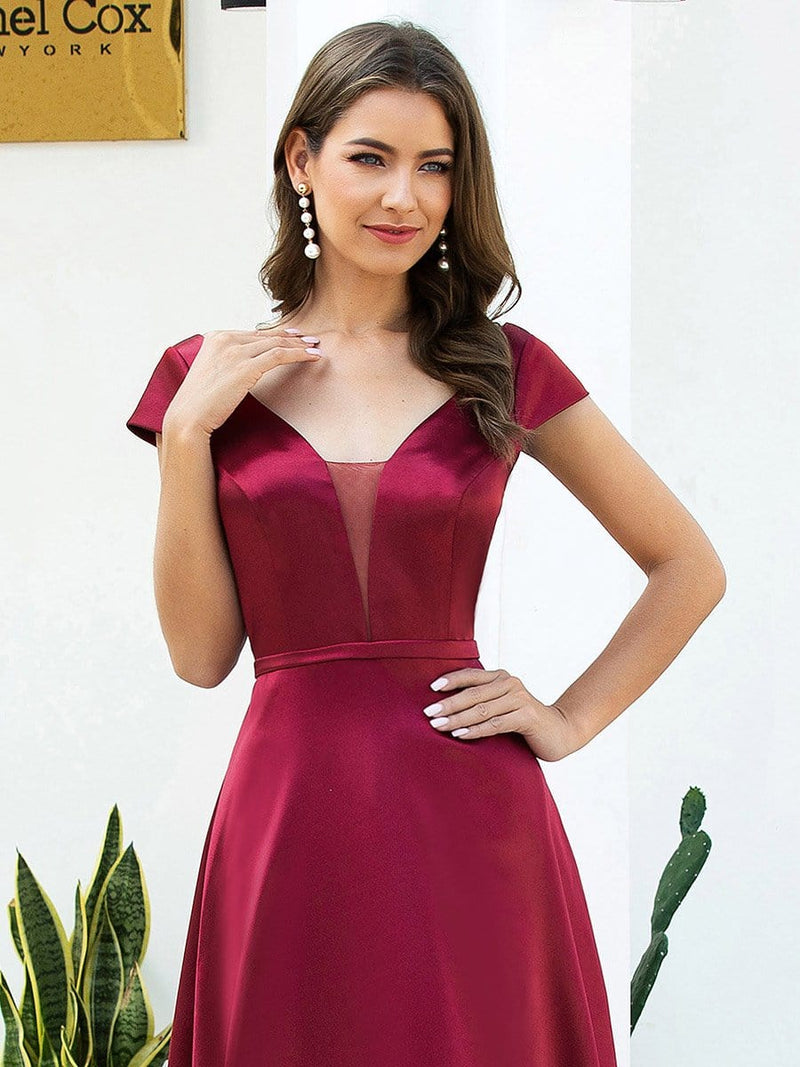 Gorgeous Deep Double V Neck Satin Prom Dress With Cap Sleeves-Burgundy 5