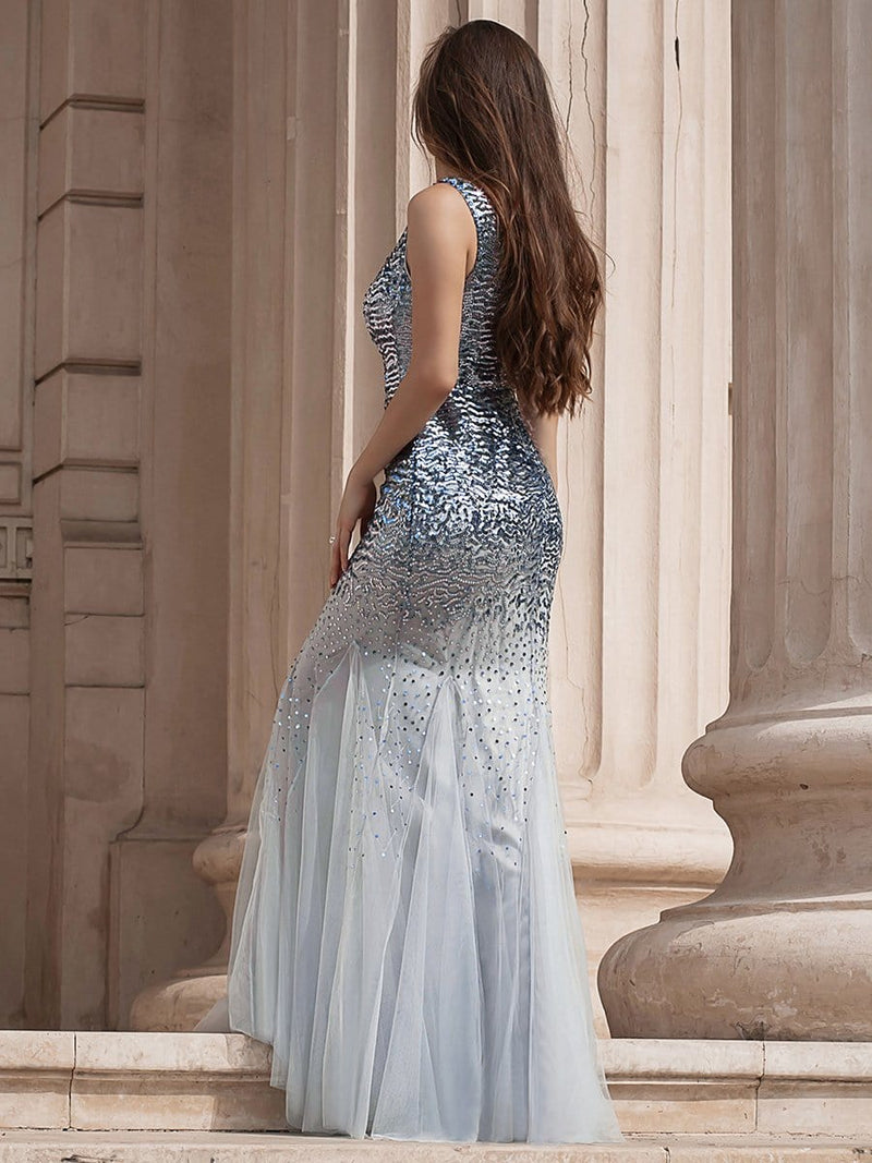 Elegant Double V Neck Fishtail Long Tulle Evening Dress With Sequin-Grey 3