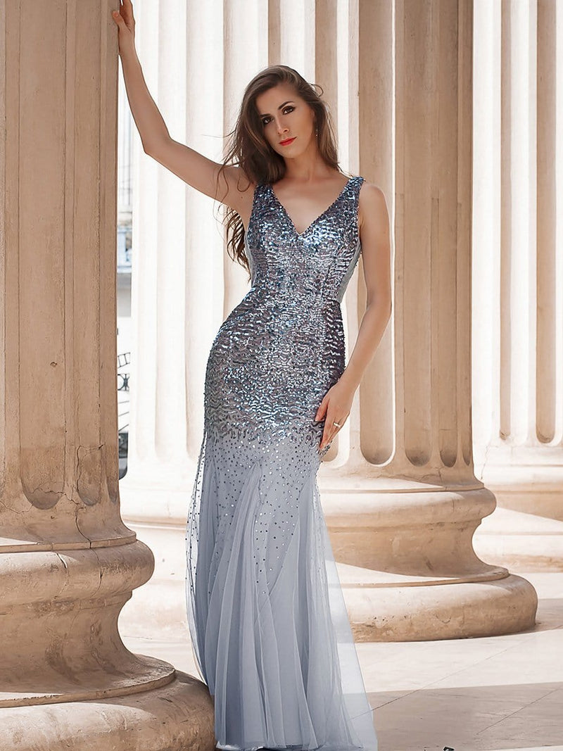 Elegant Double V Neck Fishtail Long Tulle Evening Dress With Sequin-Grey 4
