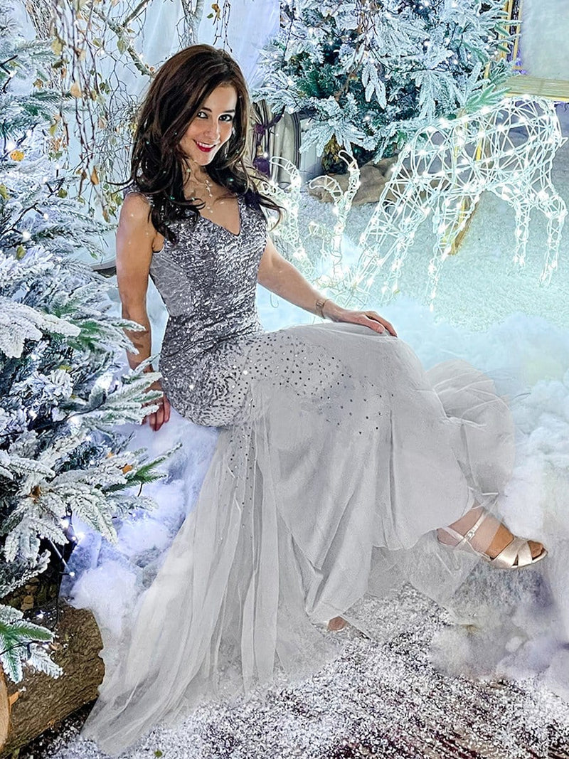Elegant Double V Neck Fishtail Long Tulle Evening Dress With Sequin-Grey 10