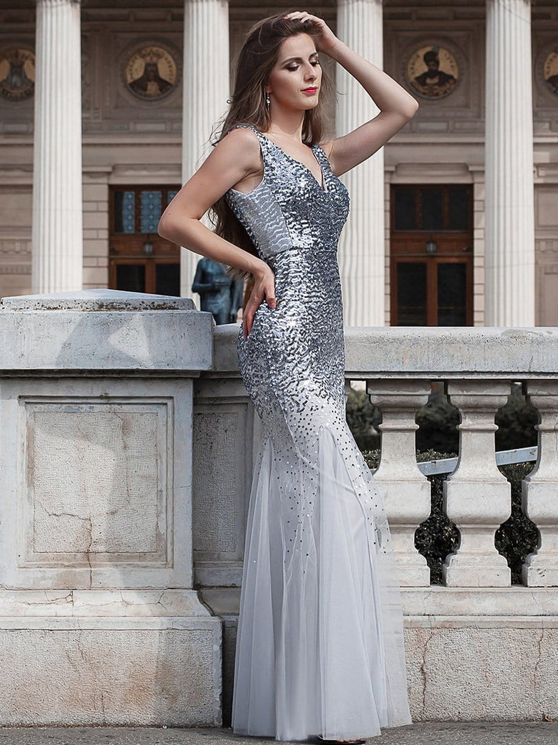 Elegant Double V Neck Fishtail Long Tulle Evening Dress With Sequin-Grey 2