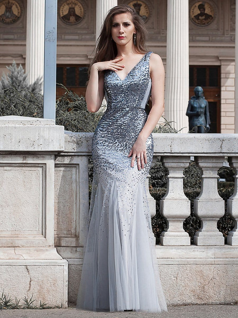 Elegant Double V Neck Fishtail Long Tulle Evening Dress With Sequin-Grey 1