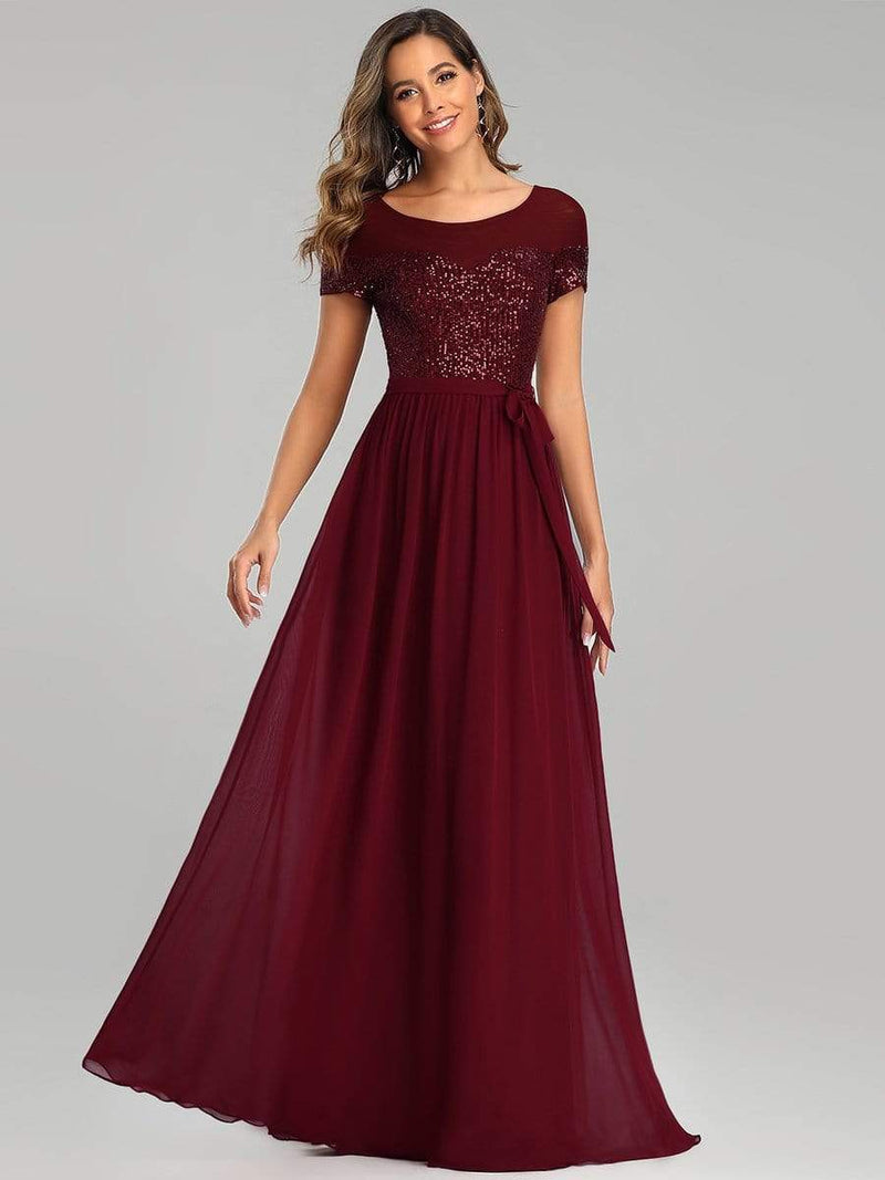 Round Neck Short Sleeve Chiffon & Sequin Evening Dresses With Belt-Burgundy 4